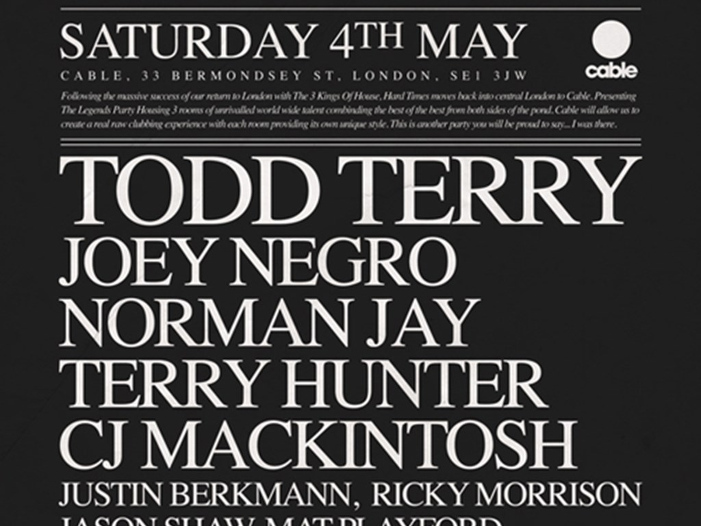 Hard Times returns to London with Todd Terry, Joey Negro, Norman Jay & more