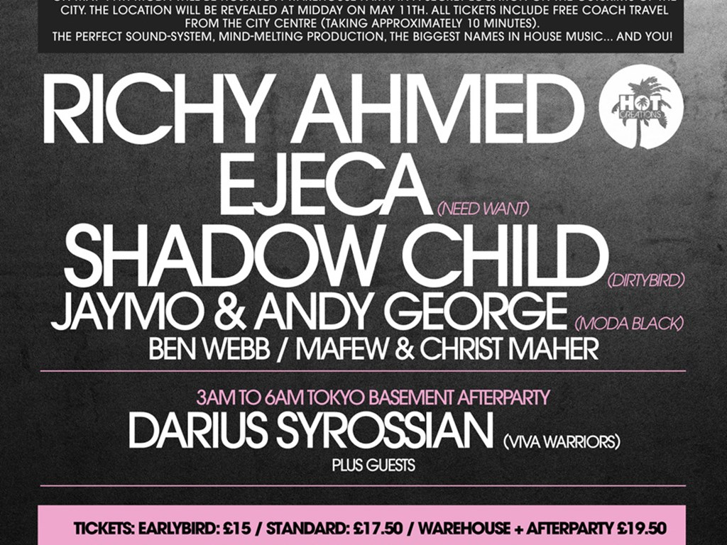 Richy Ahmed, Ejeca, Shadow Child, Jaymo & Andy George headline moda Secret Warehouse Party, Lincoln