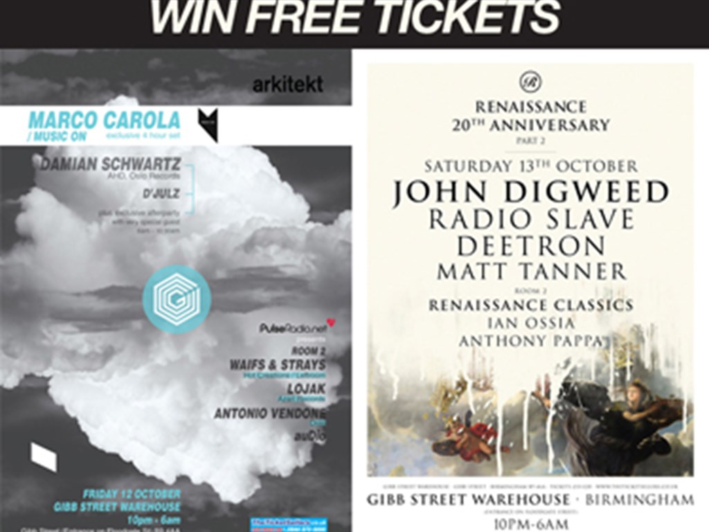 Win 2 FREE TICKETS to Arkitekt or Renaissance 20th Anniversary at Gibb St Warehouses opening weekend