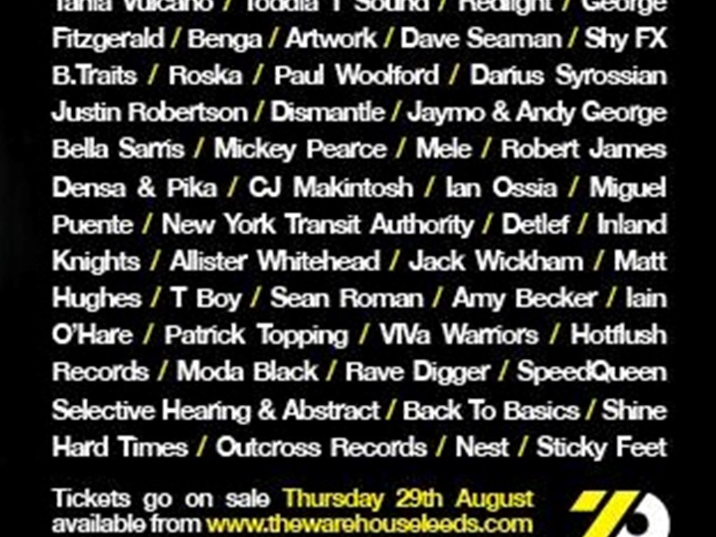 The Warehouse Leeds release 2013 autumn/winter lineups