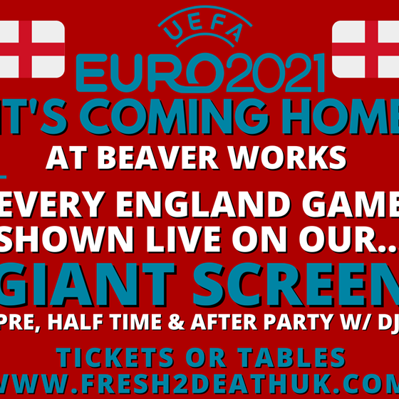 It's Coming Home! England vs Czech Republic LIVE on Giant Screen at Beaver Works